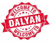 stock photo of dalyan  - welcome to Dalyan red vintage isolated seal - JPG