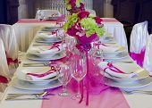 pic of centerpiece  - Wedding table setting arrangement in a luxury restaurant - JPG