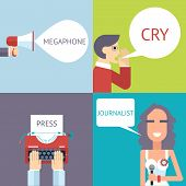 picture of crying boy  - Mass Media Symbol Megaphone speech Bubble Cry Man Boy Press Hand Typewriter Journalist Female Girl Icon on Stylish Background Modern Flat Design Template Vector Illustration - JPG