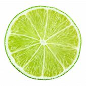 foto of lime  - Slice of lime citrus fruit isolated on white with clipping path - JPG