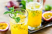 pic of passion fruit  - Fresh Passion fruit with Lychee and Lime Mojito - JPG