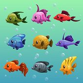 pic of aquatic animal  - Cute colorful cartoon fishes - JPG