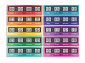 image of countdown timer  - Countdown vector rainbow colors isolated timers icons set - JPG