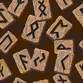 foto of rune  - Norwegian runes Abstract vector background with Template for greeting cards - JPG