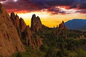image of godly  - Majestic Sunset Image of the Garden of the Gods with dramatic sky - JPG