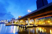 picture of hong kong bridge  - Highway bridge in Hong Kong city at sunset - JPG