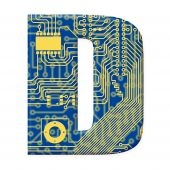 Letter From Electronic Circuit Board Alphabet On White Background - D