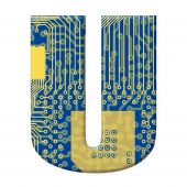 Letter From Electronic Circuit Board Alphabet On White Background - U