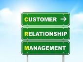 stock photo of customer relationship management  - 3d customer relationship management road sign isolated on blue background - JPG