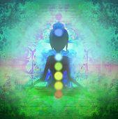 foto of padmasana  - Yoga woman silhouette in lotus pose - JPG