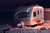 stock photo of caravan  - Winter camping holiday decorated garland - JPG