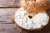 image of bagel  - bagel with cream cheese and sesame close - JPG