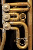 stock photo of jericho  - Details of an old and shiny trumpet - JPG