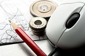 picture of mechanical drawing  - Mechanical ratchets drafting and mouse in closeup - JPG