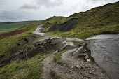 foto of collapse  - Collapsed A625 road in Peak District UK - JPG