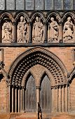 image of south-western  - Cathedral door to the South transept Lichfield Staffordshire England UK Western Europe. ** Note: Soft Focus at 100%, best at smaller sizes - JPG