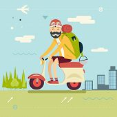 image of geek  - Happy Smiling Man Geek Hipster with Traveler Backpack on Schooter Icon Travel Lifestyle Planning a Summer Vacation Tourism and Journey Symbol Forest City Background Flat Design Template Vector Illustration - JPG