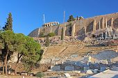 picture of parthenon  - Parthenon and theater of Dionysus on the southwest of the Acropolis in Athens - JPG