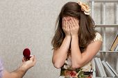 foto of propose  - Girl covers her face with hands after being proposed to - JPG
