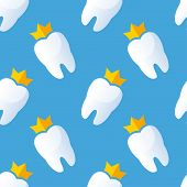 image of gold tooth  - Teeth seamless pattern - JPG