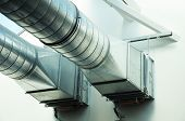 stock photo of air conditioning  - ventilation pipe of an air condition for fresh environment - JPG