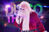 stock photo of christmas song  - Santa Claus is singing Christmas songs against digitally generated colourful discotheque text - JPG