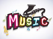 picture of saxophones  - Colorful stylish text of Music with saxophone and musical notes on stylish background - JPG