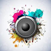 picture of speaker  - Speaker on grungy art and musical notes on stylish background - JPG