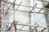 picture of scaffold  - Wooden scaffolding for build the Thai temple - JPG