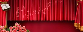 picture of pompous  - Luxury music banner with stand red tones - JPG
