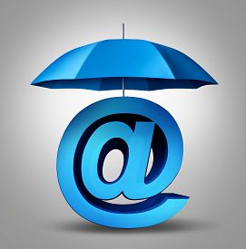 picture of ampersand  - Internet security and email protection technology concept as a blue umbrella providing safety to a three dimensional ampersand web symbol and website icon - JPG