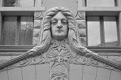 image of art nouveau  - Fragment of Art Nouveau building in center of Riga Latvia - JPG