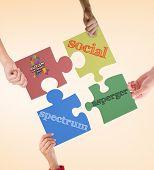 image of aspergers  - Autism awareness day against orange vignette - JPG
