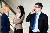 picture of people talking phone  - Business people at work - JPG