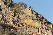 picture of lichenes  - Rocky hill with lichen landscape in Cabaneros natural park Spain - JPG