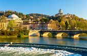 image of turin  - View of Turin over the Po River  - JPG