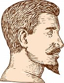 image of goatee  - Etching engraving handmade style illustration of a man viewed from the side with goatee set on isolated white background - JPG