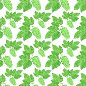 foto of brew  - Watercolor seamless pattern with hops on the white background - JPG