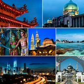 stock photo of klcc  - Collage of Malaysia images - JPG