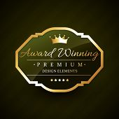 stock photo of award-winning  - beautiful award winning golden label vector design - JPG