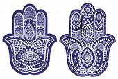 stock photo of hamsa  - Vector Indian hand drawn hamsa with ethnic ornaments - JPG