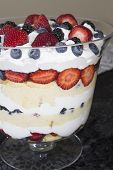 image of sponge-cake  - Trifle dessert made with sponge cake whipped cream and berries accompanied by a glass of red wine - JPG