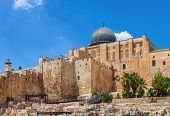 image of aqsa  - Ancient walls and Al Aqsa Mosque dome under blue sky in Old City of Jerusalem - JPG