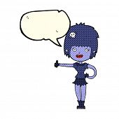 picture of undead  - cartoon undead girl with speech bubble - JPG
