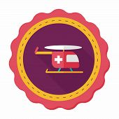 stock photo of rescue helicopter  - Medical Helicopter Flat Icon With Long Shadow - JPG