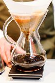 picture of brew  - Making brewed coffee from steaming filter drip style - JPG