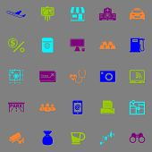 image of fluorescent  - Application business fluorescent color icons stock vector - JPG