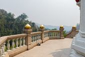 image of bannister  - the balcony with mountain view of asian temple - JPG