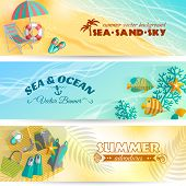 picture of sky diving  - Sea beach summer holiday adventures horizontal banners set with swimming and diving accessories abstract isolated vector illustration - JPG