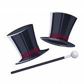 picture of top-hat  - Top hat with a cane - JPG